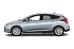 Car Driver side profile view of a 2014 Ford FOCUS 5P 107kW Electric 142 ch 5 Door Hatchback 2WD Side View