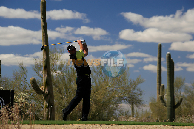 Thomas Bjorn (DEN) in action on the 13th tee during Day 2 of the Accenture Match Play Championship from The Ritz-Carlton Golf Club, Dove Mountain, Thursday 24th February 2011. (Photo Eoin Clarke/golffile.ie)
