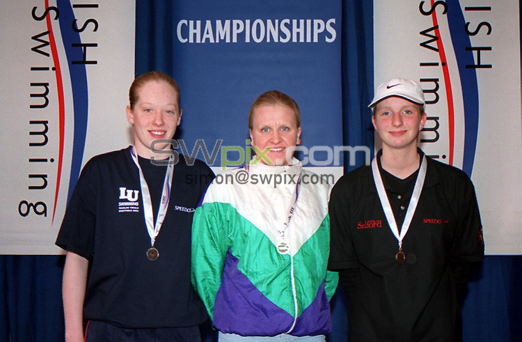 Pix: Simon Wilkinson/SWpix.com. Swimming. 2003 British Championships (50m). Ponds Forge International Sports Centre. 19/03/2003...COPYRIGHT PICTURE>>SIMON WILKINSON>>01943 436649>>..From left to Right:- Loughborough University's Emma Collings (silver), T5 LondonWest's Paula Wood (Gold), and Heather Frederiksen (Bronze), from the Womens 5000m Freestyle Final.