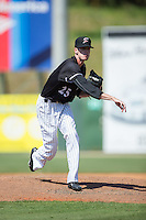Kannapolis Intimidators relief pitcher Jack Charleston (25) follows through on his delivery against the Lakewood BlueClaws at Kannapolis Intimidators Stadium on May 8, 2016 in Kannapolis, North Carolina.  The Intimidators defeated the BlueClaws 3-2.  (Brian Westerholt/Four Seam Images)