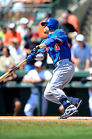 New York Mets outfielder Collin Cowgill #4 during a Spring Training game against the Baltimore Orioles at Ed Smith Stadium on March 30, 2013 in Sarasota, Florida.  (Mike Janes/Four Seam Images)