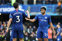 Marcos Alonso and Reece James of Chelsea shake hands at the final whistle during Chelsea vs Everton, Premier League Football at Stamford Bridge on 8th March 2020