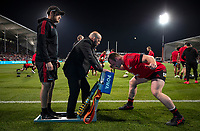 Players warm up for the 2021 Super Rugby Aotearoa final between the Crusaders and Chiefs at Orangetheory Stadium in Christchurch, New Zealand on Saturday, 8 May 2021. Photo: Joe Johnson / lintottphoto.co.nz