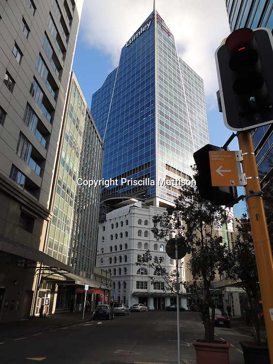 Auckland, New Zealand - September 17, 2012:  An office building rises in the city center.