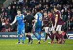 Hearts v St Johnstone…03.02.18…  Tynecastle…  SPFL<br />David Wotherspoon is sent of by referee Andrew Dallas<br />Picture by Graeme Hart. <br />Copyright Perthshire Picture Agency<br />Tel: 01738 623350  Mobile: 07990 594431