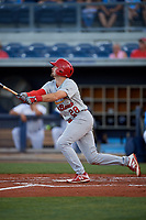 Palm Beach Cardinals first baseman Stefan Trosclair (28) follows through on a swing during a game against the Charlotte Stone Crabs on April 20, 2018 at Charlotte Sports Park in Port Charlotte, Florida.  Charlotte defeated Palm Beach 4-3.  (Mike Janes/Four Seam Images)