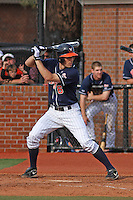 University of Virginia shortstop Chris Taylor #6 at bat during a game against the Coastal Carolina Chanticleers at Watson Stadium at Vrooman Field on February 18, 2012 in Conway, SC.  Virginia defeated Coastal Carolina 9-3. (Robert Gurganus/Four Seam Images)