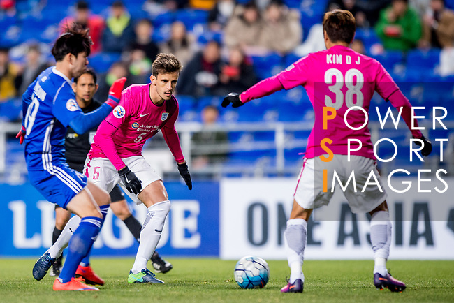 Kitchee Defender Helio Jose De Souza (C) in action during their AFC Champions League 2017 Playoff Stage match between Ulsan Hyundai FC (KOR) vs Kitchee SC (HKG) at the Ulsan Munsu Football Stadium on 07 February 2017 in Ulsan, South Korea. Photo by Chung Yan Man / Power Sport Images