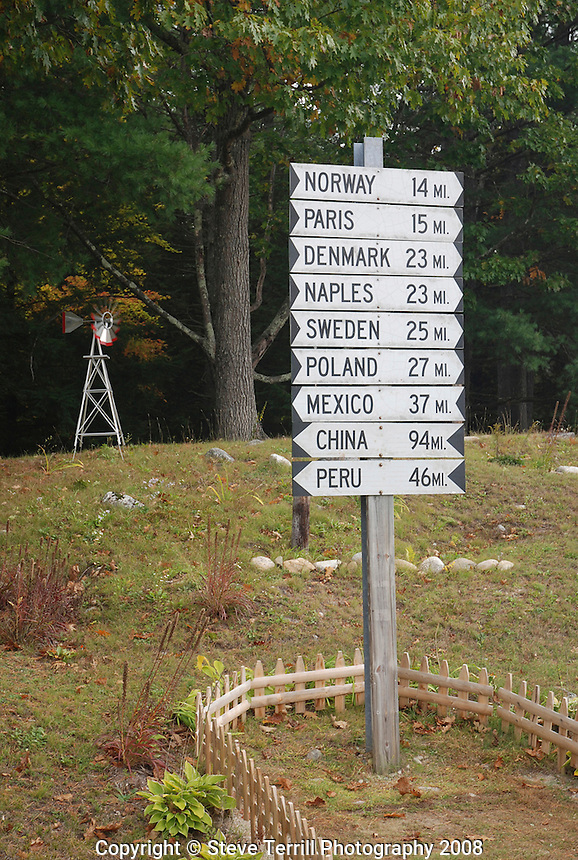 Sign in eastern Maine with names of towns in Maine