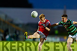 Evan Cronin, East Kerry in action against Kieran Dwyer, St. Brendan's Board during the Kerry County Senior Football Championship Semi-Final match between East Kerry and St Brendan's at Austin Stack Park in Tralee, Kerry.