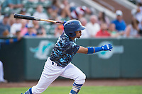 Ogden Raptors third baseman Kenneth Betancourt (9) starts down the first base line during a Pioneer League game against the Billings Mustangs at Lindquist Field on August 17, 2018 in Ogden, Utah. The Billings Mustangs defeated the Ogden Raptors by a score of 6-3. (Zachary Lucy/Four Seam Images)