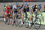 Alberto Contador (w), Joaquin Purito Rodriguez (r), Alejandro Valverde (g) and Christopher Froome (b) in the peloton during the stage of La Vuelta 2012 between Gijon and Valgrande-Pajares (Cuitu Negru).September 3,2012. (ALTERPHOTOS/Paola Otero)