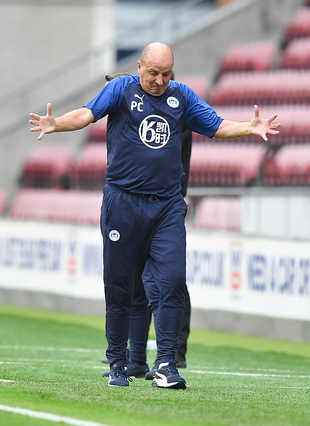 Wigan Athletic's Manager Paul Cook reacts<br /> <br /> Photographer Dave Howarth/CameraSport<br /> <br /> The EFL Sky Bet Championship - Wigan Athletic v Fulham - Wednesday July 22nd 2020 - DW Stadium - Wigan<br /> <br /> World Copyright © 2020 CameraSport. All rights reserved. 43 Linden Ave. Countesthorpe. Leicester. England. LE8 5PG - Tel: +44 (0) 116 277 4147 - admin@camerasport.com - www.camerasport.com