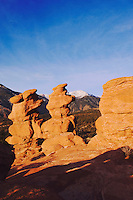 Siamese Twins Rock formation and Pikes Peak, Garden of The Gods National Landmark, Colorado Springs, Colorado, USA, February 2006