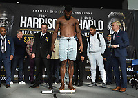 """ONTARIO - DECEMBER 20:  Efe Ajabra at the weigh in for the December 21 fight on the Fox Sports PBC """"Harrison v Charlo"""" on December 20, 2019 in Ontario, California. (Photo by Frank Micelotta/Fox Sports/PictureGroup)"""