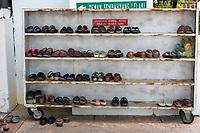 Shoes Outside the Ubudiah Mosque, Kuala Kangsar, Malaysia.