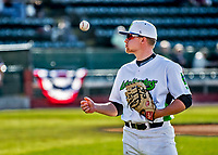 29 May 2021: Vermont Lake Monsters Infielder Brian Hadden, from Newburyport, MA, awaits the start of play prior to a game against the Norwich Sea Unicorns at Centennial Field in Burlington, Vermont. The Lake Monsters defeated the Sea Unicorns 6-3 in their FCBL Home Opener, the first home game played at Centennial Field post-Covid-19 pandemic. Mandatory Credit: Ed Wolfstein Photo *** RAW (NEF) Image File Available ***