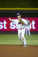 Winston-Salem Dash shortstop Zach Remillard (7) makes a throw to first base against the Lynchburg Hillcats at BB&T Ballpark on May 9, 2019 in Winston-Salem, North Carolina. The Dash defeated the Hillcats 4-1. (Brian Westerholt/Four Seam Images)