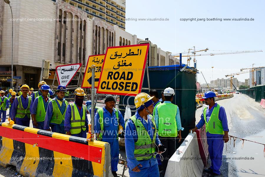 QATAR, Doha, Musheireb, construction boom for FIFA football world cup 2022 , the construction is done by migrant workers from all over the world / KATAR, Doha, Bauboom fuer die FIFA Fußball WM 2022, Abrissviertel Musheireb, auf den Baustellen fuer Neubauten schuften Gastarbeiter aus aller Welt
