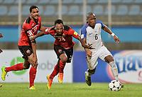 Couva, Trinidad & Tobago - Tuesday Oct. 10, 2017: Alvin Jones, Leston Paul, Darlington Nagbe during a 2018 FIFA World Cup Qualifier between the men's national teams of the United States (USA) and Trinidad & Tobago (TRI) at Ato Boldon Stadium.