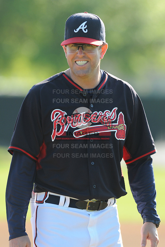 Player/coach Peter Moylan of the Atlanta Braves farm system in a Minor League Spring Training workout on Tuesday, March 17, 2015, at the ESPN Wide World of Sports Complex in Lake Buena Vista, Florida. (Tom Priddy/Four Seam Images)