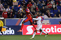 Harrison, NJ - Thursday March 01, 2018: Johnny Palacios, Bradley Wright-Phillips. The New York Red Bulls defeated C.D. Olimpia 2-0 (3-1 on aggregate) during a 2018 CONCACAF Champions League Round of 16 match at Red Bull Arena.