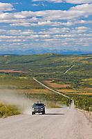 Vehicle on a hill called Beaver Slide, after Finger Mountain of the James Dalton Highway, Interior, Alaska.