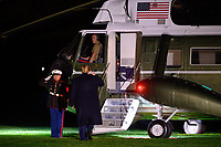 United States President Donald J. Trump salutes the Marine Guard as he boards Marine One after speaksingto reporters before departing the South Lawn of the White House in Washington, DC en route to New York, New York on Saturday, November 2, 2019.<br /> Credit: Erin Scott / Pool via CNP / MediaPunch