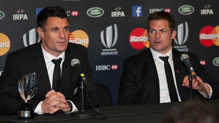Dan Carter and Richie McCaw of New Zealand speak to the media as Dan Carter looks on at the World Rugby Awards 2015  - 01/11/2015 - Battersea Evolution, London<br /> Mandatory Credit: Rob Munro/Stewart Communications