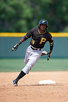 Pittsburgh Pirates Pablo Reyes (18) during a minor league Spring Training game against the New York Yankees on April 1, 2016 at Pirate City in Bradenton, Florida.  (Mike Janes/Four Seam Images)