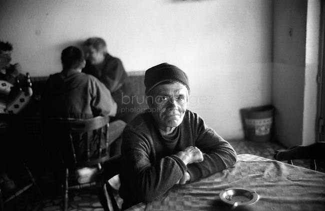 ROMANIA, Delta of Danube, Mila 23, April 2002..Retired fisherman in the main bar of Mila 23..ROUMANIE, Delta du Danube, Mila 23, Avril 2002..Des pecheurs retraités au bar principal de Mila 23..© Bruno Cogez