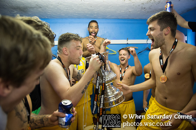 Lowestoft Town 2 Barrow 3, 25/04/2015. Crown Meadow, Conference North. Barrow make the six-hour trip to Suffolk needing a win to secure the title. Barrow celebrations in the away changing rooms. Photo by Simon Gill.