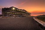29 August 2009: Del Mar Thoroughbred Club. Grandstand at sunset, Del Mar Race Track, Del Mar, CA