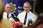Drogheda Garda station AGS put on show the seizure of Drugs and fire arms that were seised in three separate raids yesterday. Supt Eamon Waters and Chief SUPt Christie Mangan speaking to the gathered media.<br /> Picture www.newsfile.ie