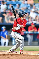 Lakewood BlueClaws center fielder Mickey Moniak (22) swings at a pitch during a game against the  Asheville Tourists at McCormick Field on June 3, 2017 in Asheville, North Carolina. The Tourists defeated the BlueClaws 10-7. (Tony Farlow/Four Seam Images)