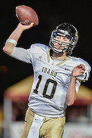 Idaho quarterback Matt Linehan (10) throws a pass during second half of an NCAA Football game, Saturday, October 04, 2014 in San Marcos, Tex. Texas State defeated Idaho 35-30. (Mo Khursheed/TFV Media via AP Images)
