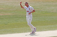 Jamie Porter of Essex celebrates taking the wicket of Scott Borthwick during Essex CCC vs Surrey CCC, Bob Willis Trophy Cricket at The Cloudfm County Ground on 9th August 2020