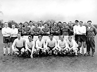 The English national football team squad shown on 22.02.1966  in London.Plasyers from top left shown are George Cohen, Nobby Stiles, Joe Baker, Peter Thompson, Gordon Banks, George Eastham, Ron Springett, Gordon Milne, Ron Flowers, Ray Wilson, Paul Reaney, Jimmy Greaves, Gordon Harris, Norman Hunter, Roger Hunt, Co-Trainer Harold Sheperdson; lower row, Jack Charlton, Keith Newton, Alan Ball, Geoff Hurst, Bobby Charlton and Captain Bobby Moore.  The team were together for the 1966 World Cup practice.