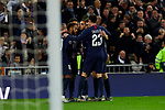 Players of Paris Saint-Germain FC celebrate goal during UEFA Champions League match between Real Madrid and Paris Saint-Germain FC at Santiago Bernabeu Stadium in Madrid, Spain. November 26, 2019. (ALTERPHOTOS/A. Perez Meca)