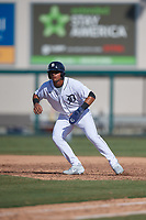 Detroit Tigers Jose De La Cruz (31) leads off during a Florida Instructional League game against the Toronto Blue Jays on October 28, 2020 at Joker Marchant Stadium in Lakeland, Florida.  (Mike Janes/Four Seam Images)