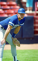 Toronto Blue Jays catcher Randy Knorr during Spring Training 1992 at Chain of Lakes Park in Winter Haven, Florida.  (MJA/Four Seam Images)