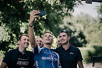 Marcel Kittel (DEU/QuickStep Floors) celebrating his 4th victory in 10 stages with a selfie together with the team staff upon his return at the hotel<br /> <br /> 104th Tour de France 2017<br /> Stage 10 - Périgueux › Bergerac (178km)