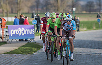 A group with Oliver Naesen (BEL/AG2R-LaMondiale) & Sep Vanmarcke (BEL Cannondale-Drapac) trying to catch the group ahead of them again over the Varent cobbles<br /> <br /> 72nd Dwars Door Vlaanderen (1.UWT)<br /> 1day race: Roeselare › Waregem BEL (203.4km)