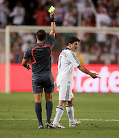 Alecko Eskandarian is issued a yellow card. The LA Galaxy defeated Chivas USA 1-0 at Home Depot Center stadium in Carson, California Saturday evening July 11, 2009.