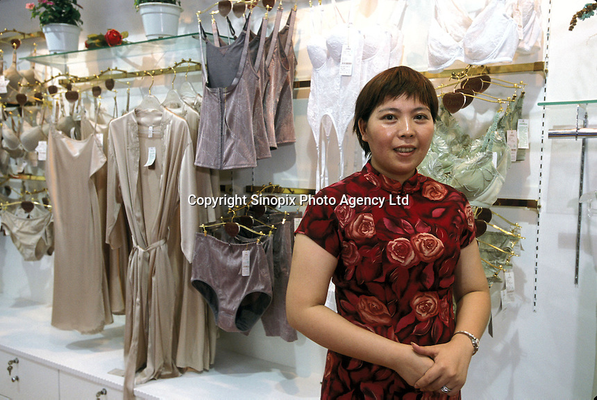 Manager of Jealousy underwear factory Luo Shun Xing, at her showroom in Foshan, China. China. Jealousy is one of the largest underwear manufactures in International Underwear City producing more that 11 million pieces annually. ...PHOTO BY SINOPIX.