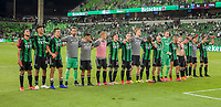 AUSTIN, TX - JUNE 19: Austin FC salutes the Supporters Group after a game between San Jose Earthquakes and Austin FC at Q2 Stadium on June 19, 2021 in Austin, Texas.