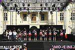 Lotto-Soudal on stage at team presentation of the 2021 Giro d'Italia inside the Cortile d'Onore of the Castello del Valentino, on the occasion of the 160th anniversary of the Unification of Italy, Turin, Italy. 6th May 2021.  <br /> Picture: LaPresse/Fabio Ferrari | Cyclefile<br /> <br /> All photos usage must carry mandatory copyright credit (© Cyclefile | LaPresse/Fabio Ferrari)