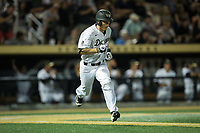 Jonathan Pryor (11) of the Wake Forest Demon Deacons hustles down the first base line against the West Virginia Mountaineers in Game Four of the Winston-Salem Regional in the 2017 College World Series at David F. Couch Ballpark on June 3, 2017 in Winston-Salem, North Carolina.  The Demon Deacons walked-off the Mountaineers 4-3.  (Brian Westerholt/Four Seam Images)