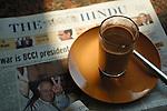 Masala Tee and The Hindu newspaper in Welcome Restaurant, Hampi, Karnataka, India.