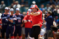 Blaze Jordan during the home run derby before the Under Armour All-America Game, powered by Baseball Factory, on July 22, 2019 at Wrigley Field in Chicago, Illinois.  Blaze Jordan attends DeSoto Central High School in Southaven, Mississippi and is committed to Mississippi State University.  (Mike Janes/Four Seam Images)